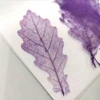網葉-橡樹葉-葡萄紫-押花材料