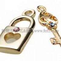 鑲鑽心形鎖匙組-9.8x18.8mm-1對