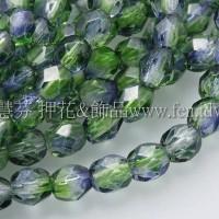 捷克棗形珠4mm藍-綠雙色混和-50個