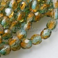 捷克棗形珠4mm黃玉-綠雙色混和-50個