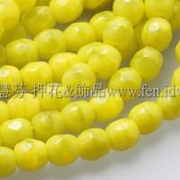 捷克棗形珠4mm黃帶淡綠色-50個