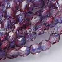 捷克棗形珠4mm粉紅-紫雙色混和-50個
