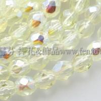 捷克棗形珠4mm不透明亮彩黃水仙色AB-50個
