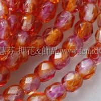 捷克棗形珠4mm菊-桃紅雙色混和-50個