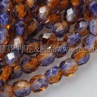 捷克棗形珠4mm紫葡萄-黃玉雙色混和-50個