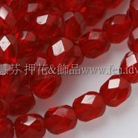 捷克棗形珠4mm紅寶石色-50個
