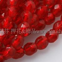 捷克棗形珠4mm櫻桃紅色內灌銀線-50個