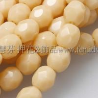 捷克棗形珠4mm不透明米黃色-50個