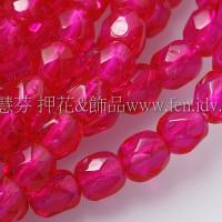 捷克棗形珠4mm熱情粉紅色-50個
