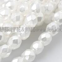 捷克棗形珠4mm珍珠雪白色-50個