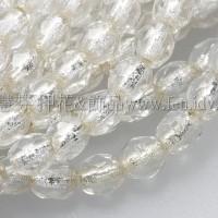 捷克棗形珠3mm-閃亮水晶灌銀色-50個