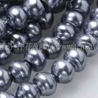 6*7mm捷克水晶珍珠-螺旋圓_鐵灰藍色