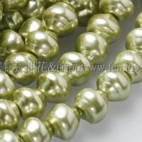 6*7mm捷克水晶珍珠-螺旋圓_橄欖綠色