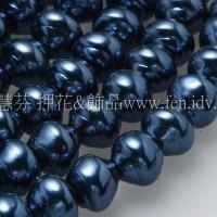 6*7mm捷克水晶珍珠-螺旋圓_皇家藍色