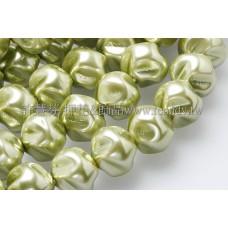 10mm捷克水晶珍珠-扭轉圓_橄欖綠色
