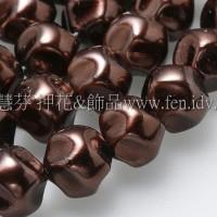 10mm捷克水晶珍珠-扭轉圓_巧克力色