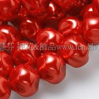 10mm捷克水晶珍珠-扭轉圓_橘子紅色