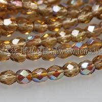 捷克棗形珠3mm閃亮金菊色-50個
