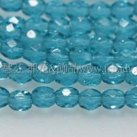 捷克棗形珠3mm水鴨藍綠色-50個