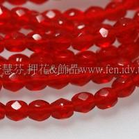 捷克棗形珠3mm泰國紅寶石紅-50個