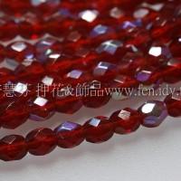捷克棗形珠3mm閃亮酒紅色-50個