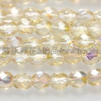 捷克棗形珠3mm閃亮淡黃玉色-50個