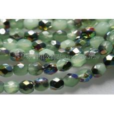 捷克棗形珠3mm閃亮七彩柔白明綠色-50個