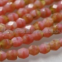 捷克棗形珠3mm珊瑚粉紅+橄欖綠-50個
