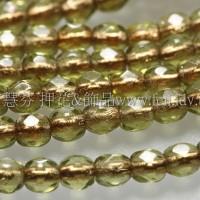 捷克棗形珠3mm銅線橄欖綠-50個