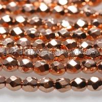 捷克棗形珠3mm紅銅色-50個