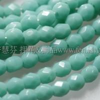 捷克棗形珠3mm暗松玉綠-50個