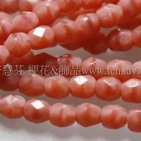 捷克棗形珠3mm珊瑚粉紅-50個