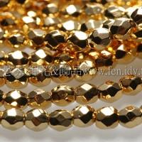 捷克棗形珠3mm金色-50個