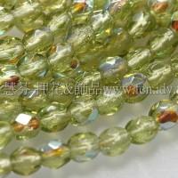 捷克棗形珠3mm閃亮明綠色-50個