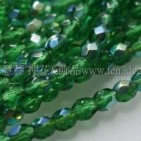 捷克棗形珠3mm閃亮孔雀石綠色-50個