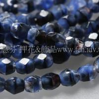 捷克棗形珠3mm藍白黑旋渦-50個