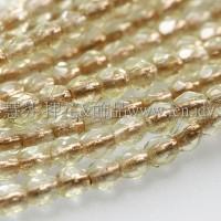 捷克棗形珠3mm銅線黃水仙色-50個