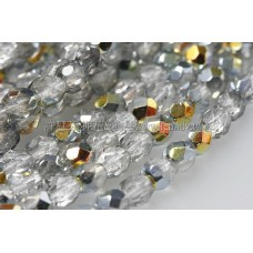 捷克棗形珠4mm閃亮冰晶銀灰加金色-50個