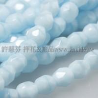 捷克棗形珠4mm珊瑚芹藍-50個