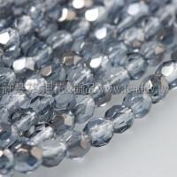 捷克棗形珠4mm閃亮銀岩灰藍-50個