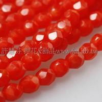 捷克棗形珠4mm柿珊瑚紅-50個