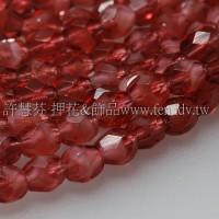 捷克棗形珠4mm閃亮珍珠暗紅色-50個