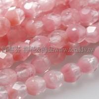 捷克棗形珠4mm閃亮冰晶粉紅-50個