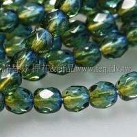 捷克棗形珠4mm閃亮蒙大拿藍加綠-50個