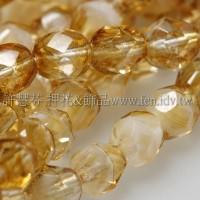 捷克棗形珠6mm燻黃水仙帶白-20個