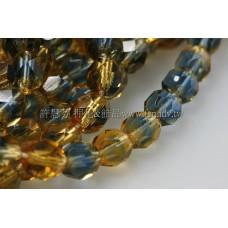 捷克棗形珠6mm蒙大拿藍加黃水仙-20個