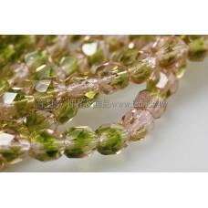 捷克棗形珠6mm玫瑰粉紅加森林綠-20個