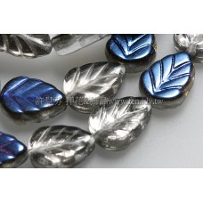8X10mm捷克玫瑰葉形珠-閃亮月夜藍帶銀箔-10個