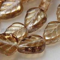 8X10mm捷克玫瑰葉形珠-亮黃玉帶金泊-10個