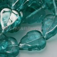 10x12mm捷克葡萄葉形珠-水鴨藍綠-10個